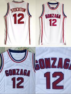 Gonzaga Bulldogs Basket 12 John Stockton Jersey Liceo Squadra Colore Bianco Stockton Bulldogs Maglie Traspirante Sport Spedizione Gratuita