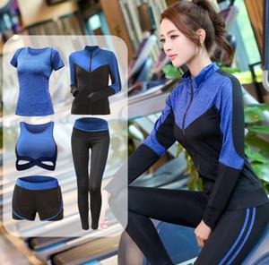 pantalones de deportes de las mujeres nueva yoga delgada ropa ropas corrientes de las mujeres juego de los deportes de cinco piezas de la mujer traje de medias ropa de gimnasia de secado rápido