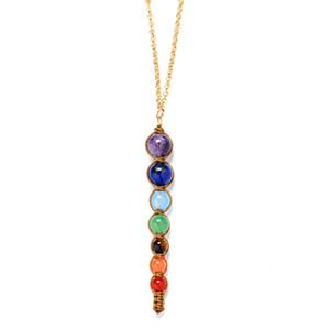 hot sale Chakra Stone Yoga Necklace Raw Quartz Natural Stone Dowsing Pendulum Necklaces Reiki Rainbow Jewelry