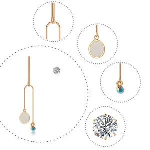 عالية الجودة سبائك الزركون الأقراط الزجاج طويل بسيط وغير المتكافئة طبقة مزدوجة النحاس الأحجار الكريمة قلادة الأقراط والمجوهرات