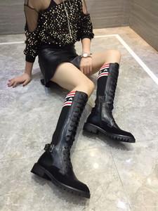 Chaussette Bottes Femmes En Cuir De Mode Romain Martin Bottes Épais À Talons Automne Femme Lacets de Piste Casual Au Genou Haute Bottes Dames Longues Botas Chaussures