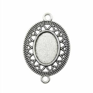 15 Stück Cabochon Miniatur-Unter Tray Werksblende Zubehör für Modeschmuck-Blumen-Steckverbinder inneren Größe 13x18mm Oval Halskette hängender Einstellung