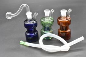 Mini água de vidro colorido Bong Downstem Cabaça Recycler Oil Rigs Beautiful Tubos Bubbler com 10mm Pot Assado e Mangueira