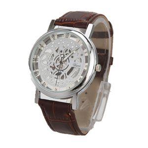 Simple Men's Leather Watch 2019 Roman Digital Scale Openwork Alloy Dial Fashion Casual Men's Sport Watch horloges mannen a50