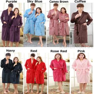 On Sale Men Women  Winter Bathrobe Mens Warm Silk Flannel Long Kimono Bath Robe Male Bathrobes Lovers Night Dressing Gown
