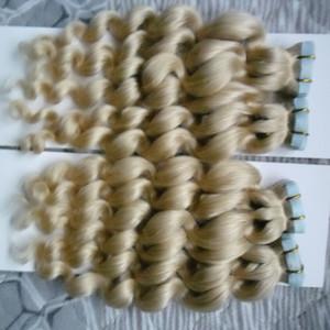 Nastro a onde sciolte in Human Hair Extension 200g Nastro a 100% Real Remy Human in Hair Extension Biondo 80PCS Seamless Hair a trama di pelle