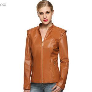 New Fashion Autumn Winter Women  Faux Soft Leather Jackets Pu Black Brown Coffee Zippers Long Sleeve Motorcycle Coat M-XXXL