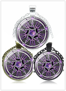 Five-pointed star pattern necklace Creative color magic pentagram pendant necklaces Fashion Time Gem Cabochon with chain jewelry