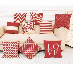 Red pillow cover Home Cover linen dakimakura Geometric Throw Pillowcase Pillow Covers pillow case rectangle