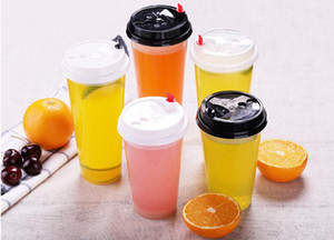 700ML / 24oz الباردة المشروبات الساخنة كؤوس عصير القهوة التبانة الشاي الكؤوس ثخن المتاح شفافة المشروبات البلاستيكية الكؤوس مع غطاء SN176