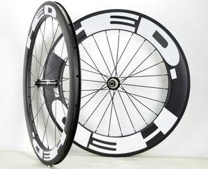 Ruedas de bicicleta de carretera 700C delanteras de 60 mm Ruedas traseras de profundidad de 88 mm Anchura de 25 mm Juego de ruedas de bicicleta de carretera de fibra de carbono tubular con calcomanías HED blancas