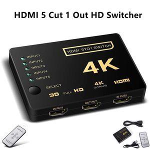 Alta Qualidade HDMI Audio Video Switcher 4K 5 Cut 1 Converter Out HDMI Splitter HD Switch HDMI Splitter Conector de áudio YS-278