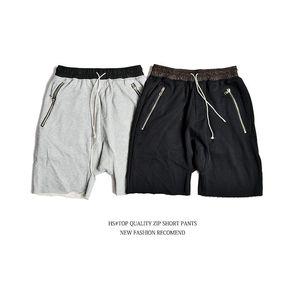 Мужчины хип-хоп повседневные шорты лето Kanye стиль одежды свободные спортивные черный серый шорты Джастин Бибер шаровары молния Pocketv размер 2xl