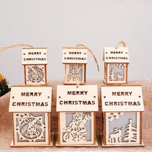 Led navidad casa de madera cabaña decoración colgante para santa claus elk reno campana árbol de navidad adornos colgantes decoración regalo de navidad