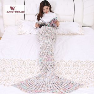 Slowdream Mermaid Tail Blanket Throw Bed Yarn Knitted Crochet Mermaid Manta Wrap Super suave cama para dormir