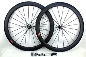 탄소 섬유 자전거 도로 바퀴 50mm 700C clincher 관 모양의 도로 사이클링 탄소 자전거 wheelsets 현무암 브레이크 표면 바퀴 림 폭 25mm