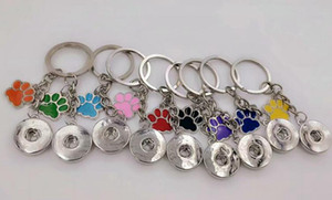 Émail chien de patte de chat Prints 18mm Snaps Bouton Keychain charme porte-clés pour clés de voiture Porte-clés Souvenir couple sac à main porte-clés A30