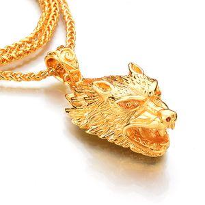 NUOVO 75cm Collana lunga da uomo, ciondolo color oro, lupo, collane, lupo, testa, amuleto, ciondolo, catena, pendenti animali, lupo mannaro, gioielleria