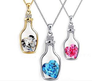 20 unids que deseen botella colgante collar para mujer amante de la moda elegante collar con Flash diamante corazón cristal austriaco collar