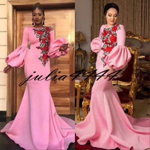 Vestidos de baile 2019 novo abril Dubai árabe festa à noite vestido de desgaste africano Rose flores manga longa laço preto menina casal dia