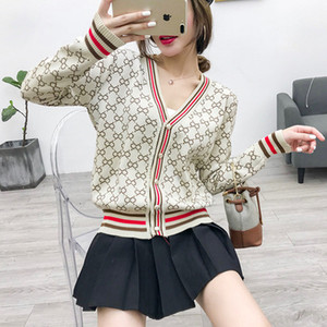 Otoño nuevo diseño moda mujer con cuello en v una sola botonadura manga larga estampado floral raya remiendo punto suéter abrigo cardigan casacos