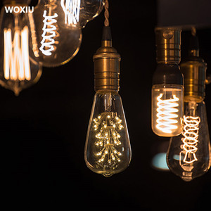 WOXIU Bulb Filament Light Lamp Vintage Edison Retro Led E27 8w Globe St64 Screw Industrial Style Antique 8w