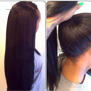 Stock Yaki droite avant de dentelle perruque 18-30 pouces dentelle perruque Frontal Long Femmes Couleur Noir naturel synthétique Dentelle entièrement cheveux