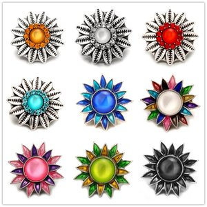 Exquisite Noosa Inlay Colours Crystal Sunflower Metal Snap Buttons 18mm Button Charms For DIY Snap Jewelry Findings