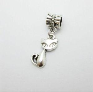 100PCS Tibetan Silver Cat Charms Pendant Dangle Beads For Jewelry Making European Bracelet 26x7mm