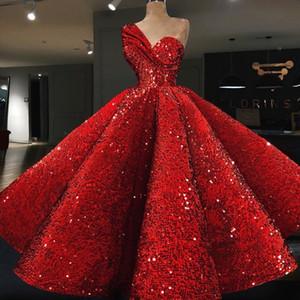 Robes de célébrités robe de bal 2018 tissu de velours pailleté rouge une épaule longueur de thé robes de cocktail