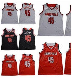 Hombres Baloncesto Donovan Mitchell 45 universitarios Louisville Cardinals jerseys baratos Todo cosido equipo rojo Lejos Negro Blanco Color de alta calidad