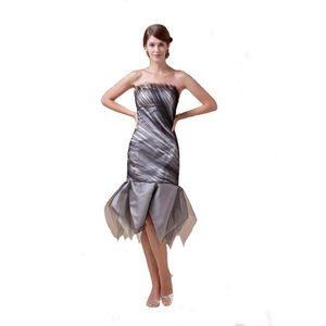 Elegant Ladies Tea Length Strapless Cocktail Dress Zip Back Good Quality Black Tulle Birthday Party Dress