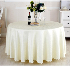 Luxurious Round Table Cover Round Jacquard Damask Table Cloth Hotel Wedding Tablecloth Machine Washable Fabric Cloth Table