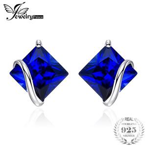 JewelPalace Classic 2.8ct creato zaffiro orecchini con perno fascino 925 gioielli in argento sterling per le donne accessori moda s18101307