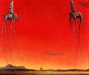 100% peintres à la main célèbres artistes toile reproduction de reproduction éléphants Salvador Dali peinture toile art déco peintures vente salon dec