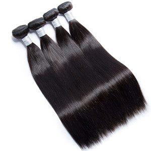 Grade 10A Peruvian Straight Bundles Hair Weave 4 Bundles Remy Hair Weave Natural Color Virgin Hair Extension 8-30 Inch