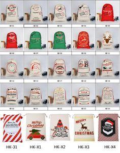 Dhl هدية عيد أكياس قماش حقيبة سانتا كيس 50 * 70 سنتيمتر الكبير الرباط حقيبة مع أكياس الرنة سانتا كلوز كيس لعبة تلقي حقيبة