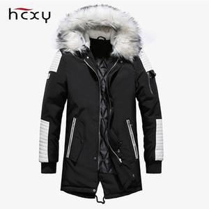 HCXY Hiver Hommes Parka Veste Long Manteau Chaud Épais Veste En Coton-Rembourré De Haute Qualité Coupe-Vent Casual Parka À Capuche