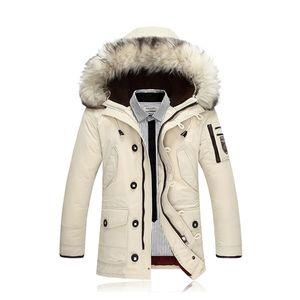IZQUIERDA ROM 2017 Casual chaqueta de la manera abajo de los nuevos hombres de invierno con capucha gruesa capa larga caliente del cuello de la piel de la chaqueta / abrigo largo Hombre Slim Fit