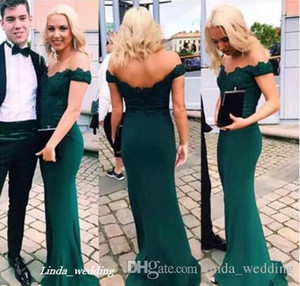 2019 Emerald Green Bridemaid Dress Off Flange Country Sare Formate Wedding Party Gaise Hand of Change Plan Plus Размер на заказ
