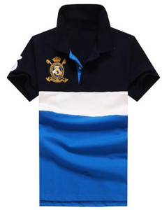 Listrado polo camisa grande cavalo moda homens polo camisas marca polos clube de alta qualidade homens roupas de algodão preto / azul
