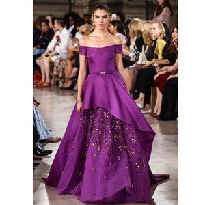 2018 Purple Elie Saab Abendkleider Off Shoulder Zipper Zurück plus Größe Perlen Lange formale Prom Party Kleider tragen