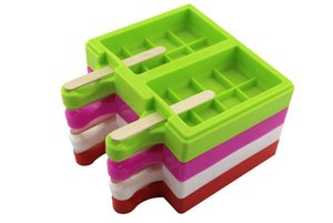 Nuevo Diseño 2 cavidades 8 cuadros pequeños en forma de barra de chocolate para Lollipops molde de silicona del helado de paleta Cubo torta hace estallar caramelo Moldes