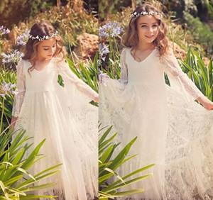 2018 Novo Boho Lace Flower Girl Dresses fpr Casamentos País Barato Meninas de Manga Longa Marfim Doce Primeira Comunhão Vestidos Para 2-13 Anos