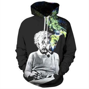 Einstein Hoodies O-Neck Hombres Mujeres Sudaderas Impresión 3d Einstein Smoking Thin Unisex Chándales con capucha Tops Jerseys Nuevo