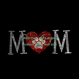 Transfers Yeni Paw Mom Düzeltme Motif Rhinestone Demir