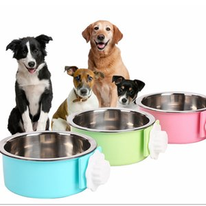 3 Colores Perro Mascota Cachorro de perro de acero inoxidable colgando cuencos para perros Comida Agua Plato Alimentación lenta Comedero Bowl AAA491