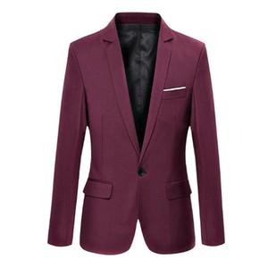 패션 봄 가을 남성 블레 이저 긴 소매 솔리드 컬러 슬림 남자 캐주얼 씬 양복 재킷 사무실 블레 이저 플러스 크기 S-6XL FS99