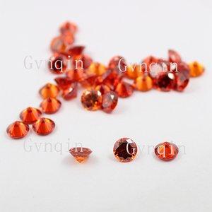 Livraison gratuite 100pcs / lot 6mm-8.25mm cubique zircone orange ronde CZ Synthétique Pierres Précieuses En Gros