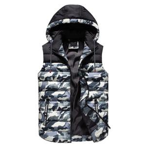 2018 Herbst-Winter-warme Art und Weise Sleeveless Weste der Männer beiläufige Baumwolle gepolsterter Mantel-dünne gesteppte Freizeit-MehrfarbenTarnweste